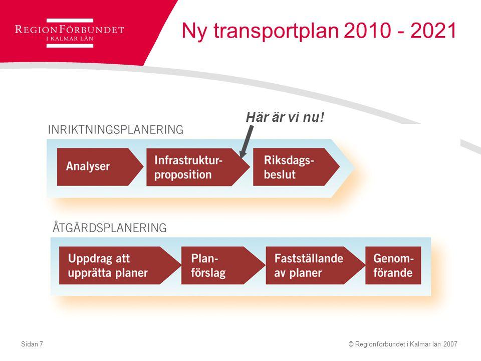 Ny transportplan 2010 - 2021 Här är vi nu!