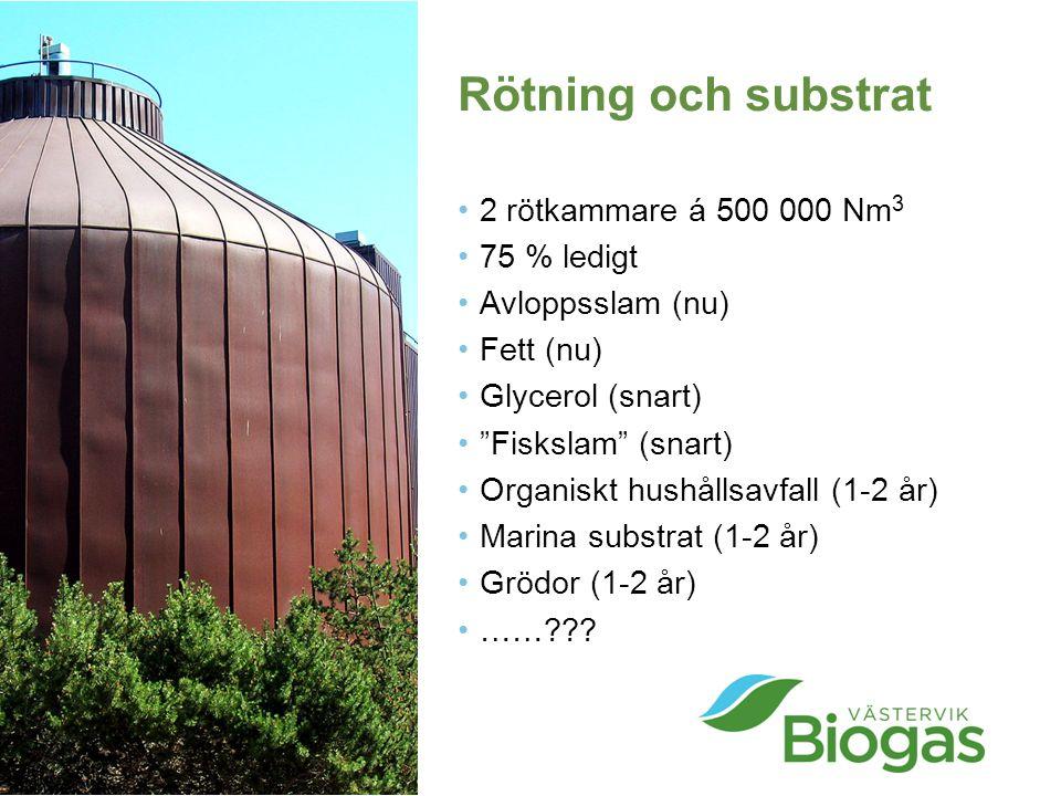 Rötning och substrat 2 rötkammare á 500 000 Nm3 75 % ledigt