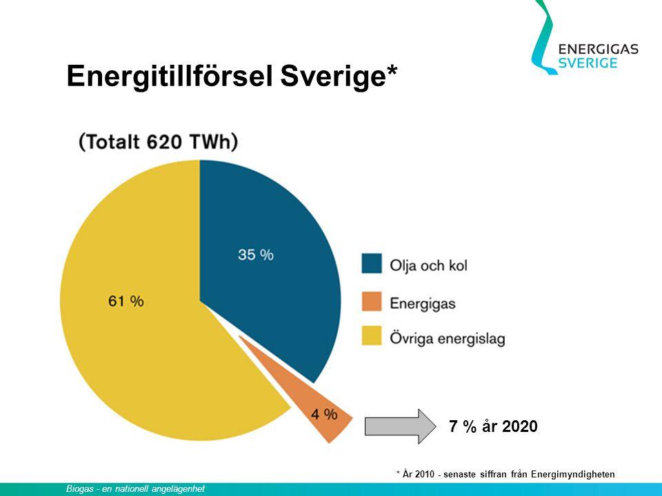 Energitillförsel Sverige*