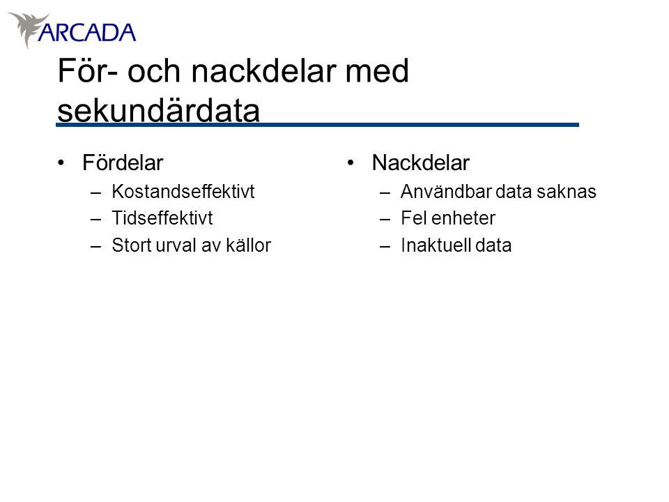 För- och nackdelar med sekundärdata