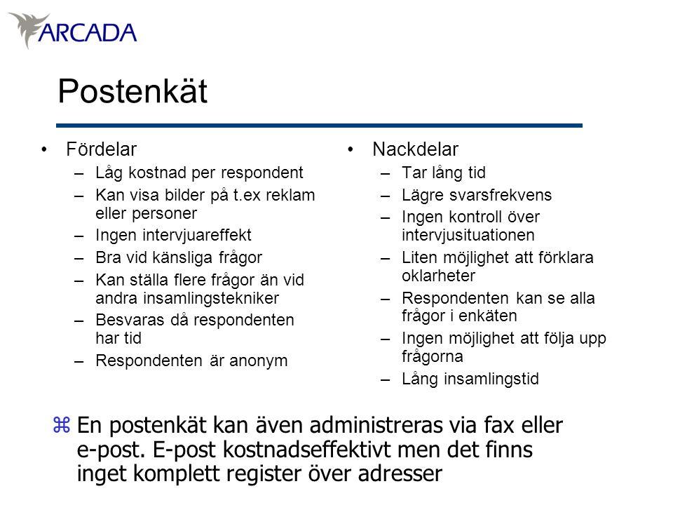 Postenkät Fördelar. Låg kostnad per respondent. Kan visa bilder på t.ex reklam eller personer. Ingen intervjuareffekt.