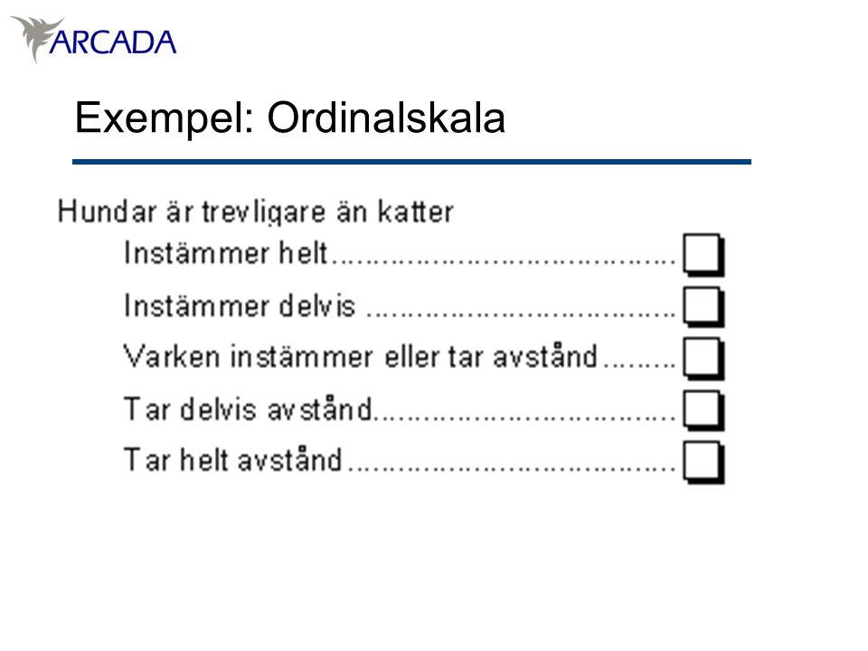 Exempel: Ordinalskala
