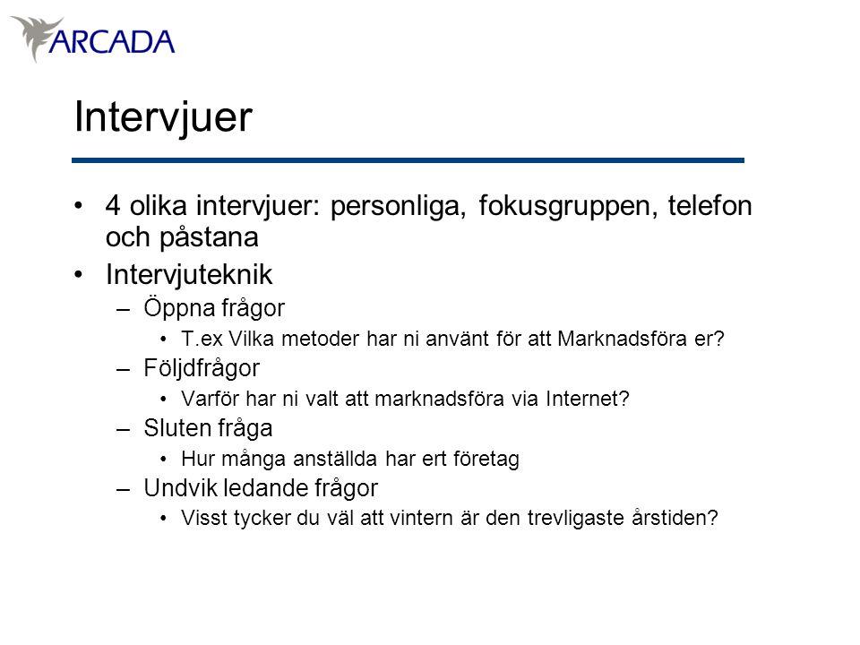 Intervjuer 4 olika intervjuer: personliga, fokusgruppen, telefon och påstana. Intervjuteknik. Öppna frågor.