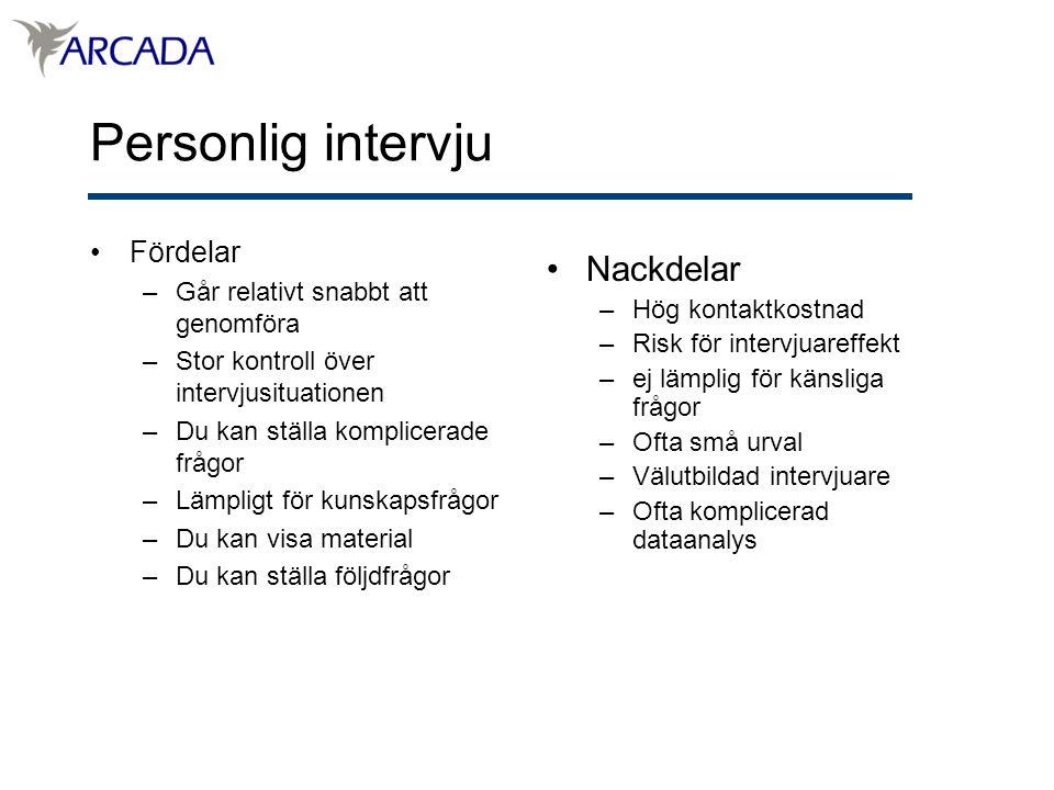 Personlig intervju Nackdelar Fördelar
