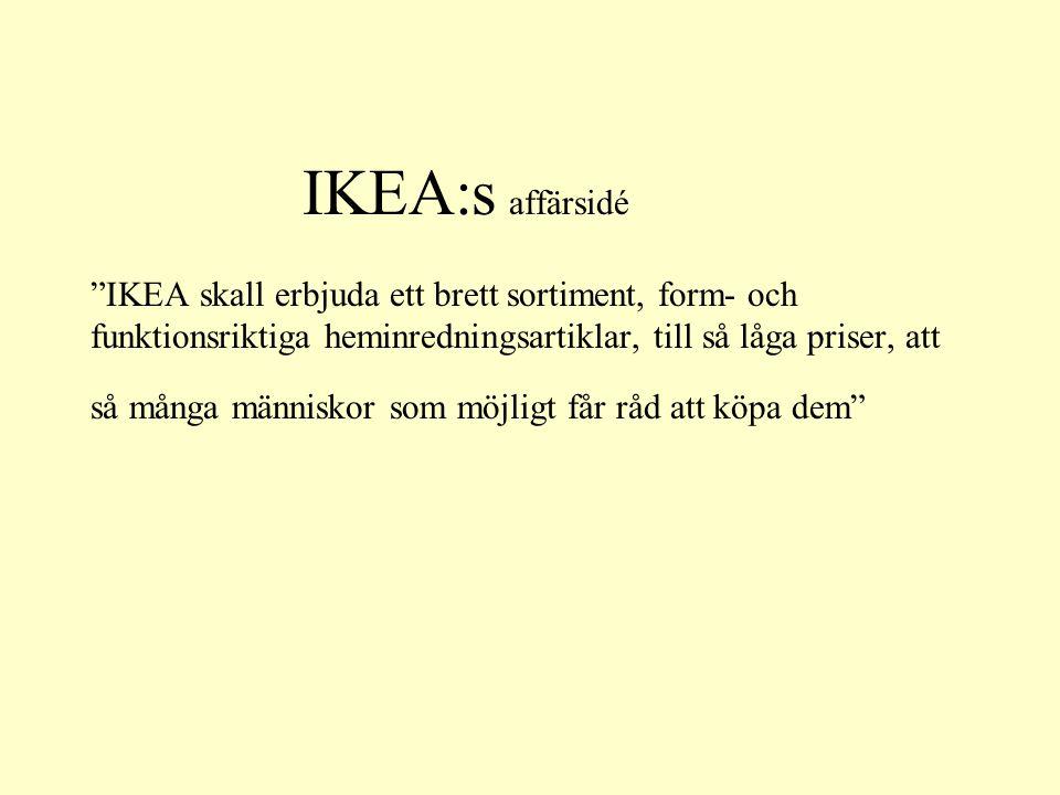 IKEA:s affärsidé IKEA skall erbjuda ett brett sortiment, form- och funktionsriktiga heminredningsartiklar, till så låga priser, att så många människor som möjligt får råd att köpa dem