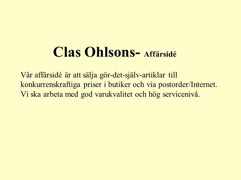 Clas Ohlsons- Affärsidé Vår affärsidé är att sälja gör-det-själv-artiklar till konkurrenskraftiga priser i butiker och via postorder/Internet.