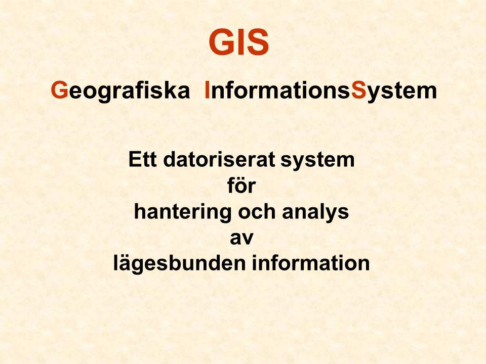 GIS Geografiska InformationsSystem