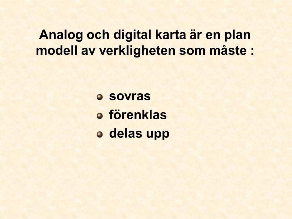 Analog och digital karta är en plan modell av verkligheten som måste :