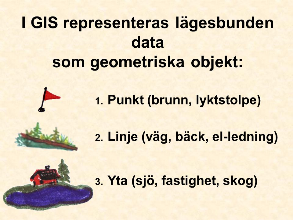 I GIS representeras lägesbunden data som geometriska objekt:
