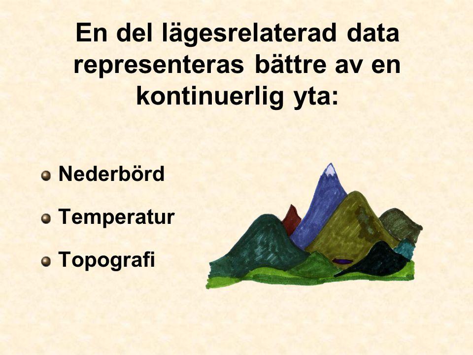En del lägesrelaterad data representeras bättre av en kontinuerlig yta: