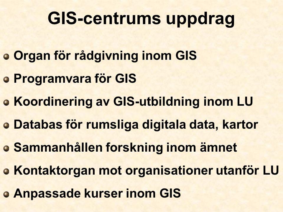 GIS-centrums uppdrag Organ för rådgivning inom GIS Programvara för GIS