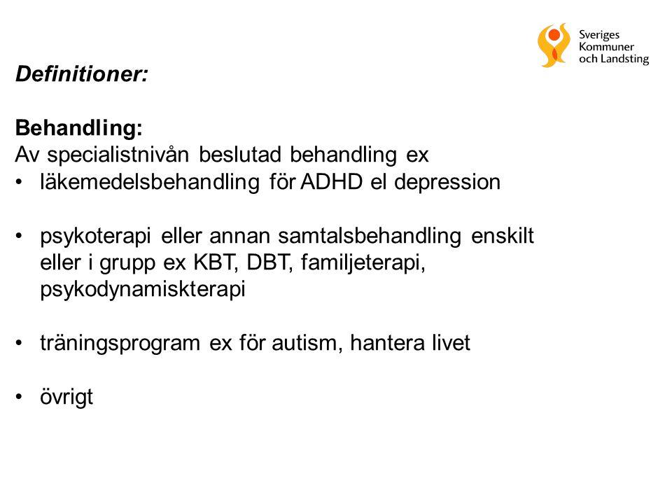 Definitioner: Behandling: Av specialistnivån beslutad behandling ex. läkemedelsbehandling för ADHD el depression.