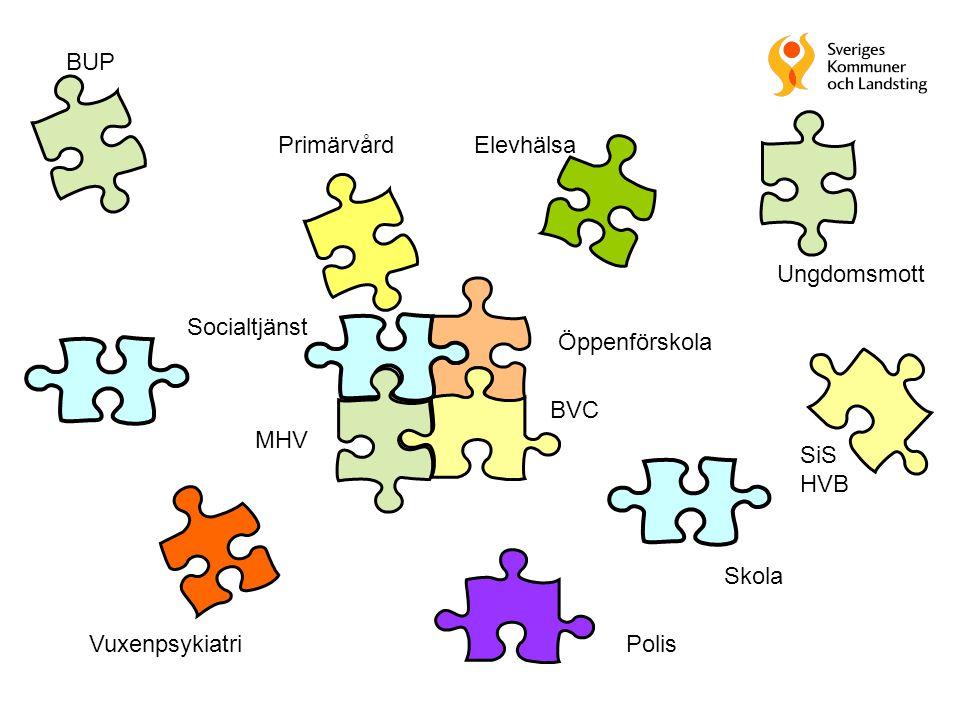 BUP Primärvård. Elevhälsa. Ungdomsmott. Socialtjänst. Öppenförskola. BVC. MHV. SiS. HVB. Skola.