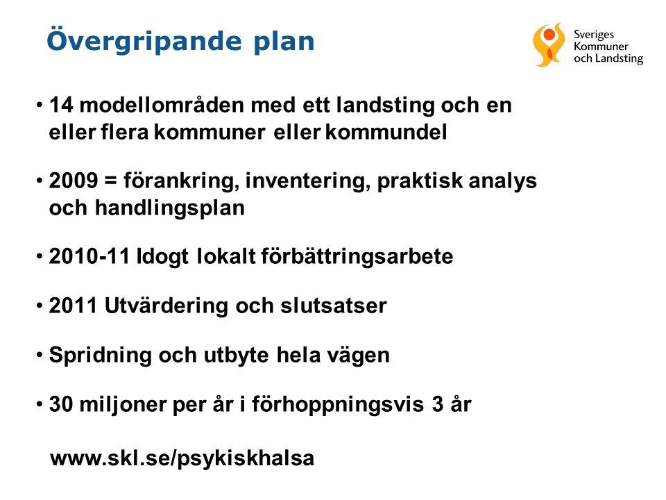 Övergripande plan 14 modellområden med ett landsting och en eller flera kommuner eller kommundel.