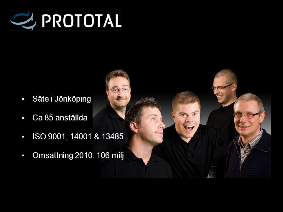 Säte i Jönköping Ca 85 anställda ISO 9001, 14001 & 13485 Omsättning 2010: 106 milj