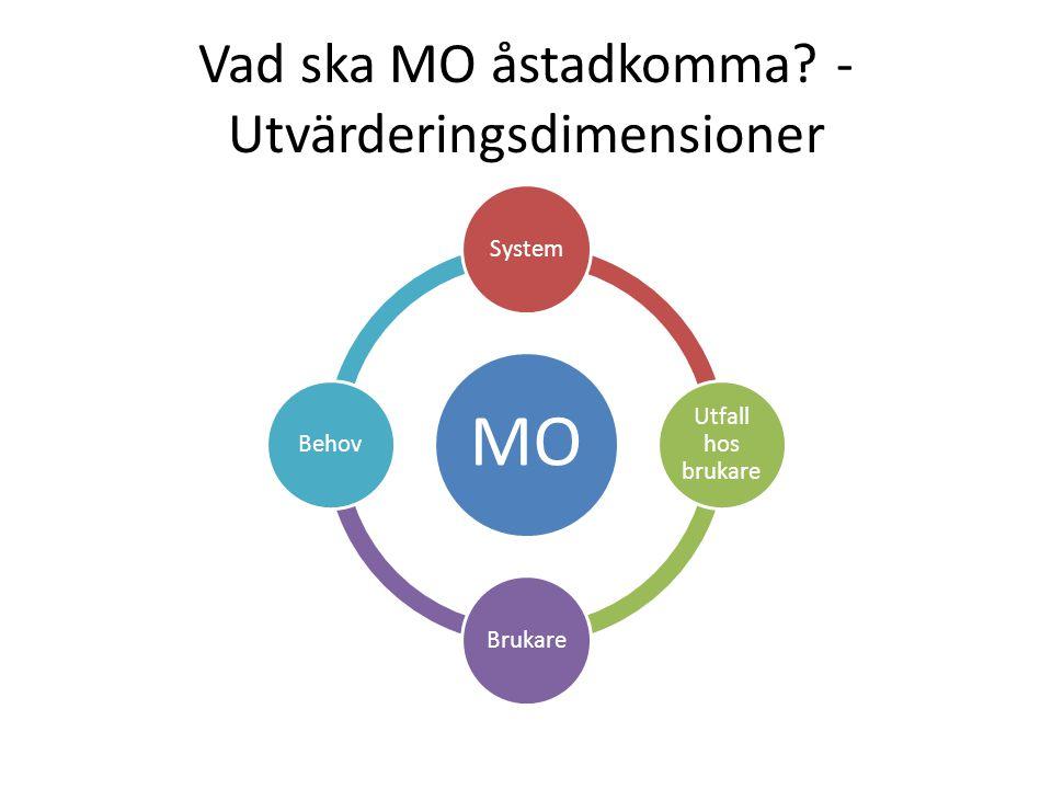 Vad ska MO åstadkomma - Utvärderingsdimensioner