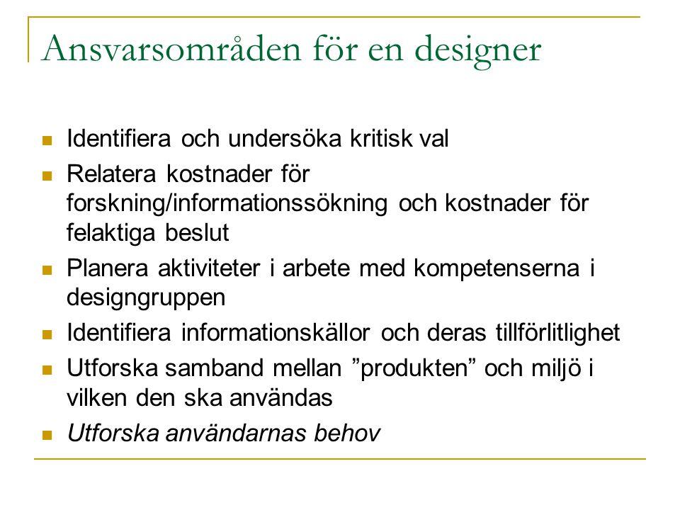 Ansvarsområden för en designer
