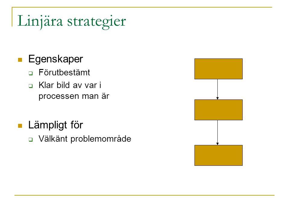 Linjära strategier Egenskaper Lämpligt för Förutbestämt