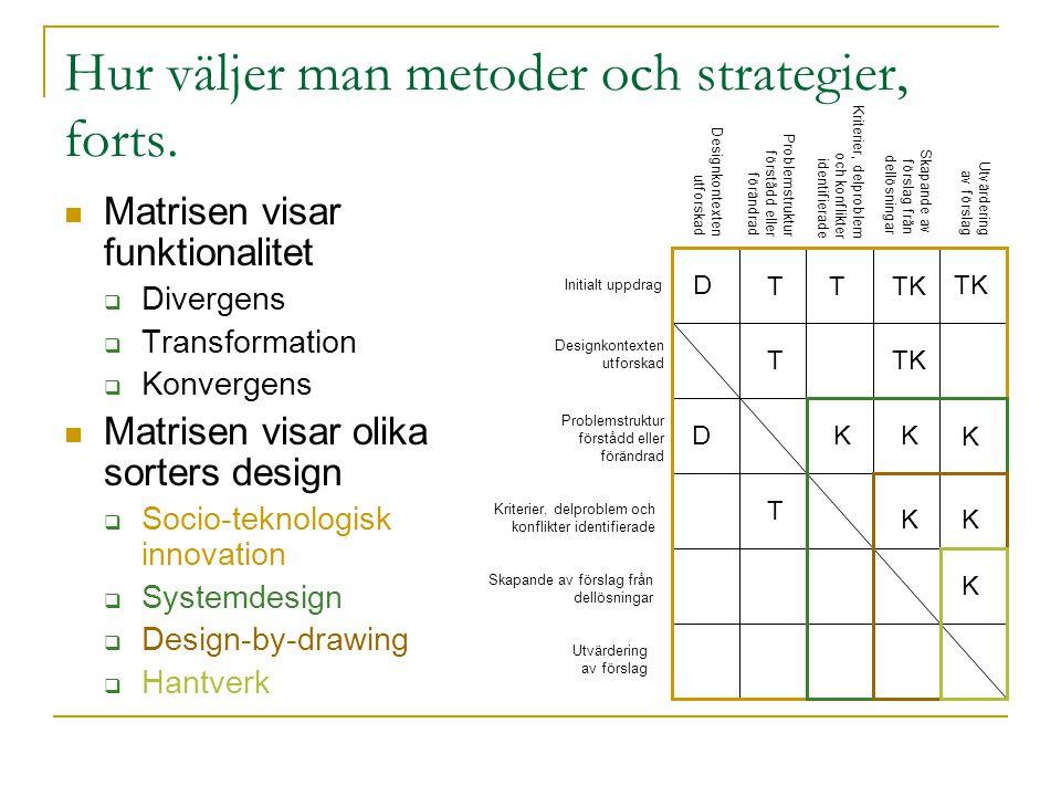 Hur väljer man metoder och strategier, forts.