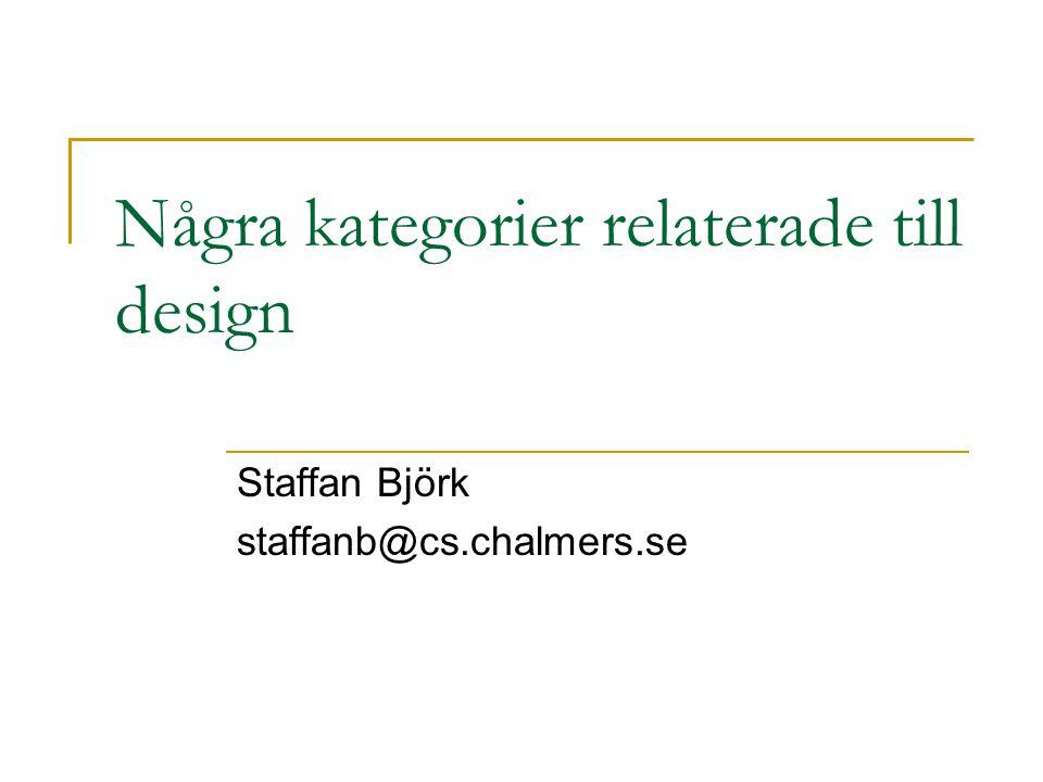 Några kategorier relaterade till design