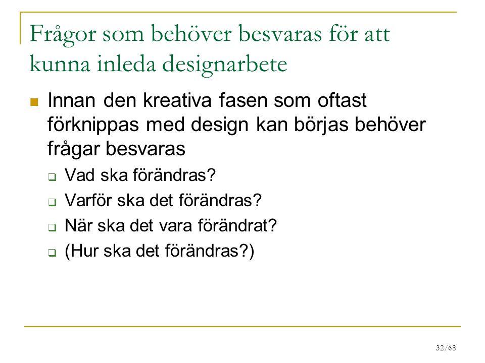 Frågor som behöver besvaras för att kunna inleda designarbete