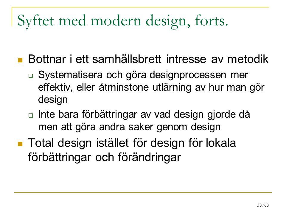 Syftet med modern design, forts.