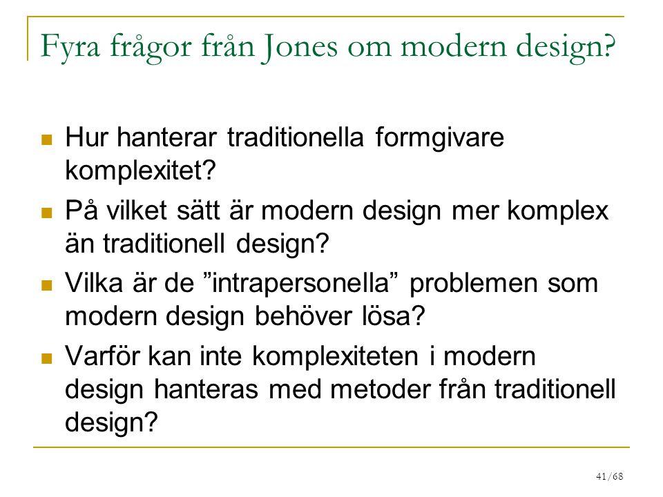 Fyra frågor från Jones om modern design