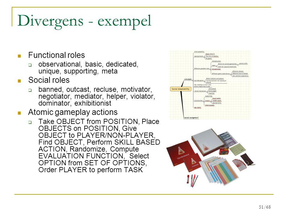 Divergens - exempel Functional roles Social roles