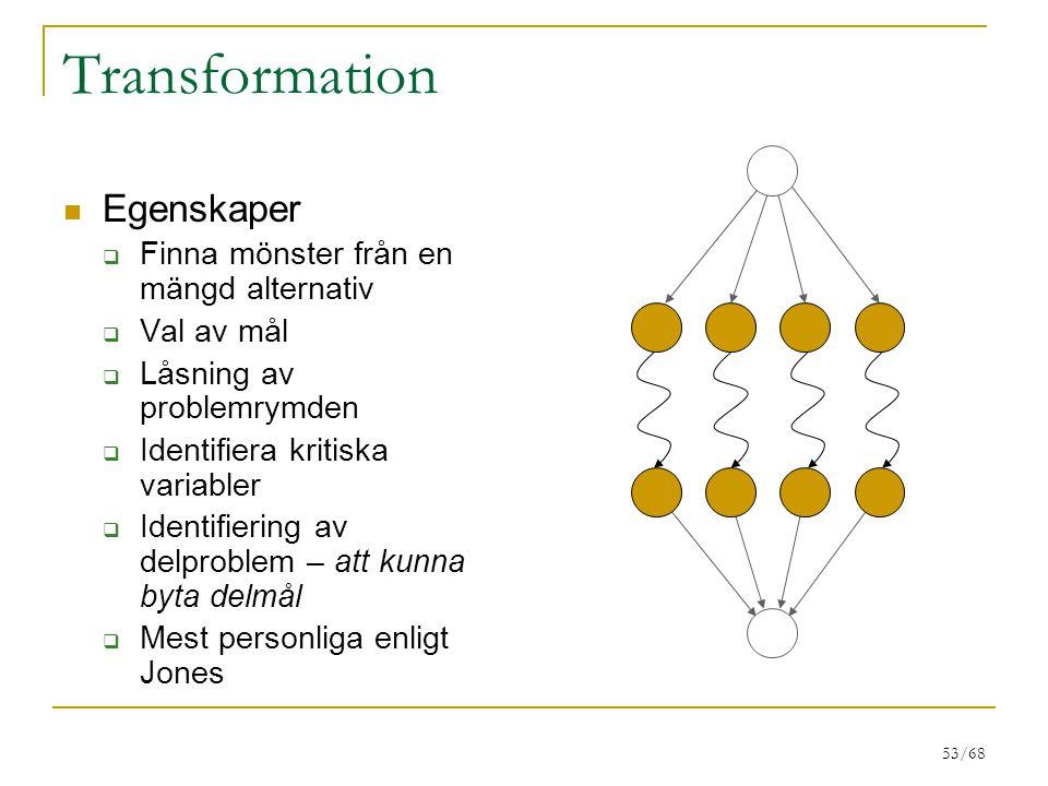 Transformation Egenskaper Finna mönster från en mängd alternativ