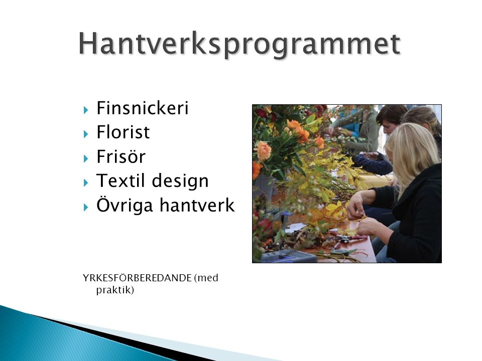 Hantverksprogrammet Finsnickeri Florist Frisör Textil design