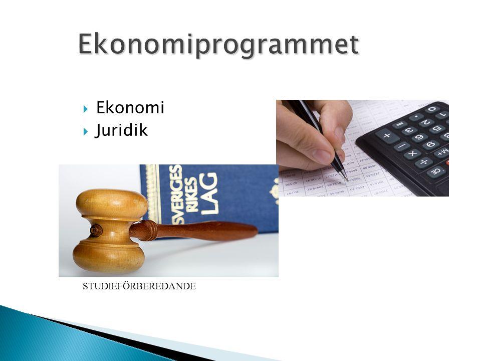 Ekonomiprogrammet Ekonomi Juridik STUDIEFÖRBEREDANDE
