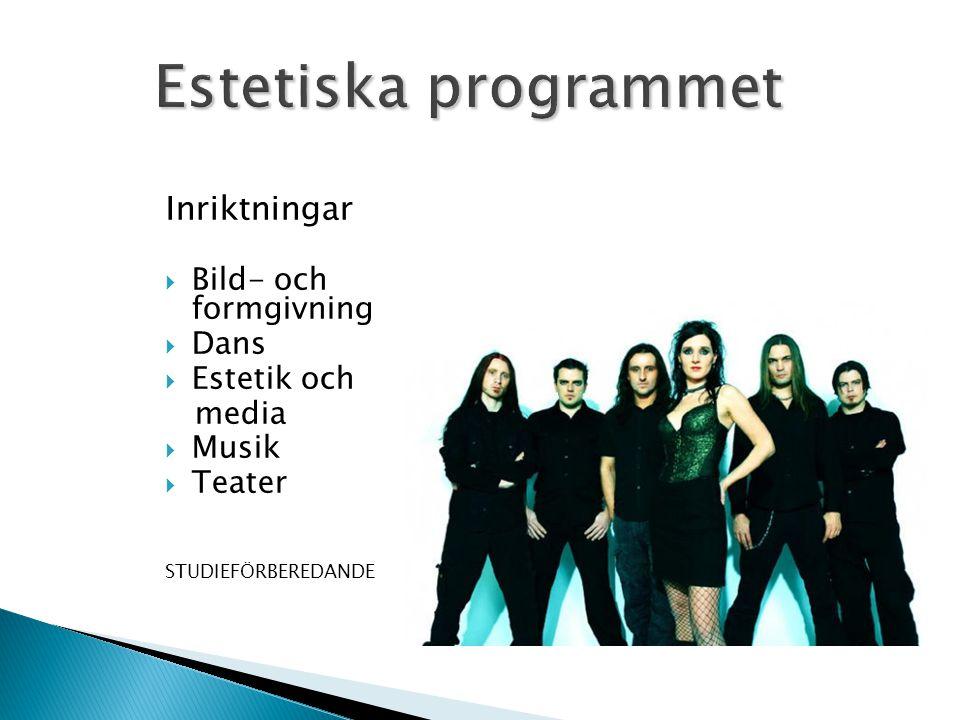 Estetiska programmet Inriktningar Bild- och formgivning Dans