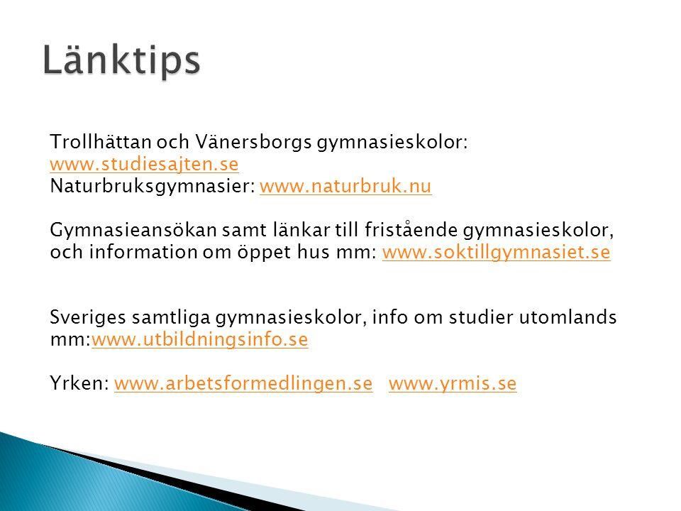 Länktips Trollhättan och Vänersborgs gymnasieskolor: