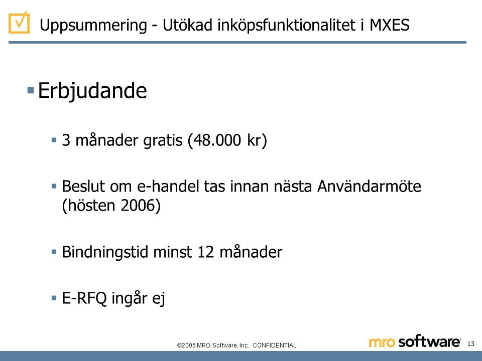 Erbjudande Uppsummering - Utökad inköpsfunktionalitet i MXES