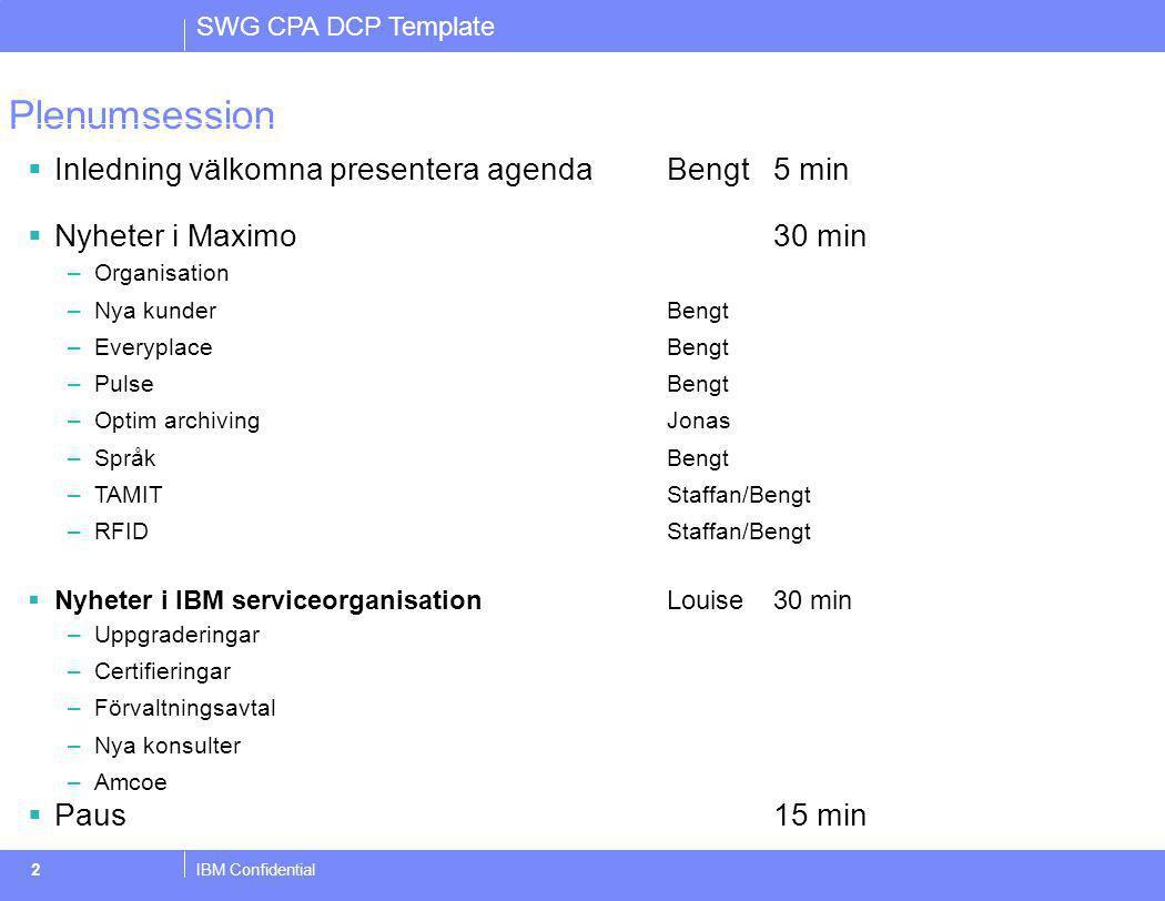 Plenumsession Inledning välkomna presentera agenda Bengt 5 min