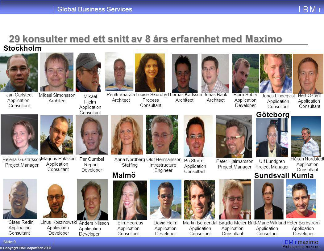 29 konsulter med ett snitt av 8 års erfarenhet med Maximo