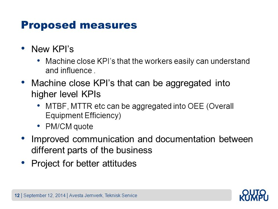 Proposed measures New KPI's