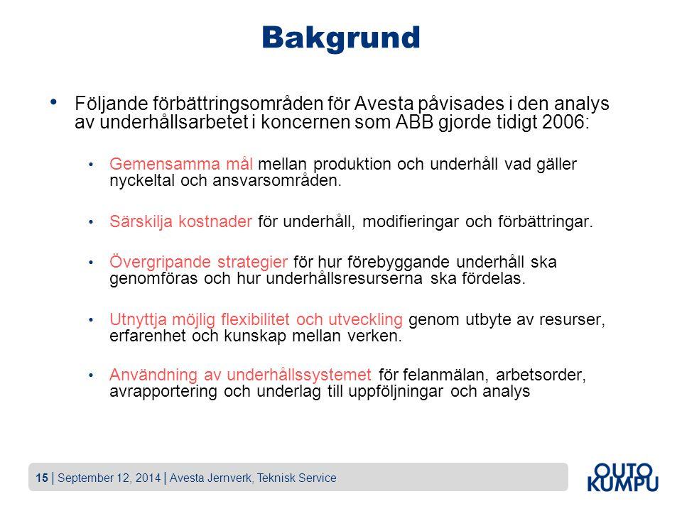 Bakgrund Följande förbättringsområden för Avesta påvisades i den analys av underhållsarbetet i koncernen som ABB gjorde tidigt 2006: