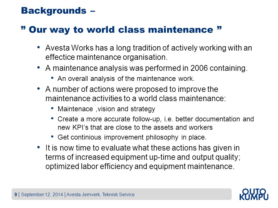 Backgrounds – Our way to world class maintenance