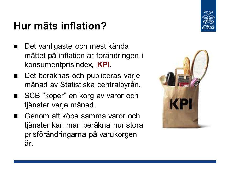 Hur mäts inflation Det vanligaste och mest kända måttet på inflation är förändringen i konsumentprisindex, KPI.