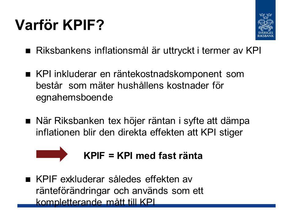 Varför KPIF Riksbankens inflationsmål är uttryckt i termer av KPI