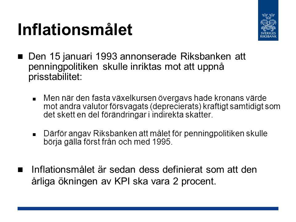 Inflationsmålet Den 15 januari 1993 annonserade Riksbanken att penningpolitiken skulle inriktas mot att uppnå prisstabilitet: