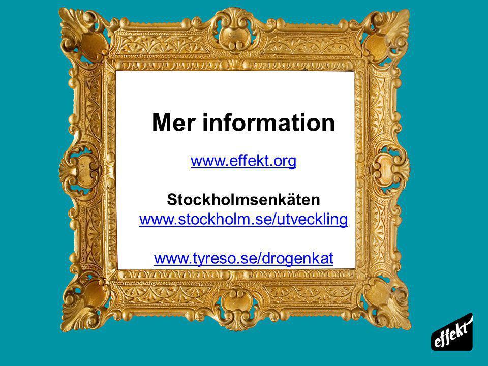 Mer information www.effekt.org Stockholmsenkäten