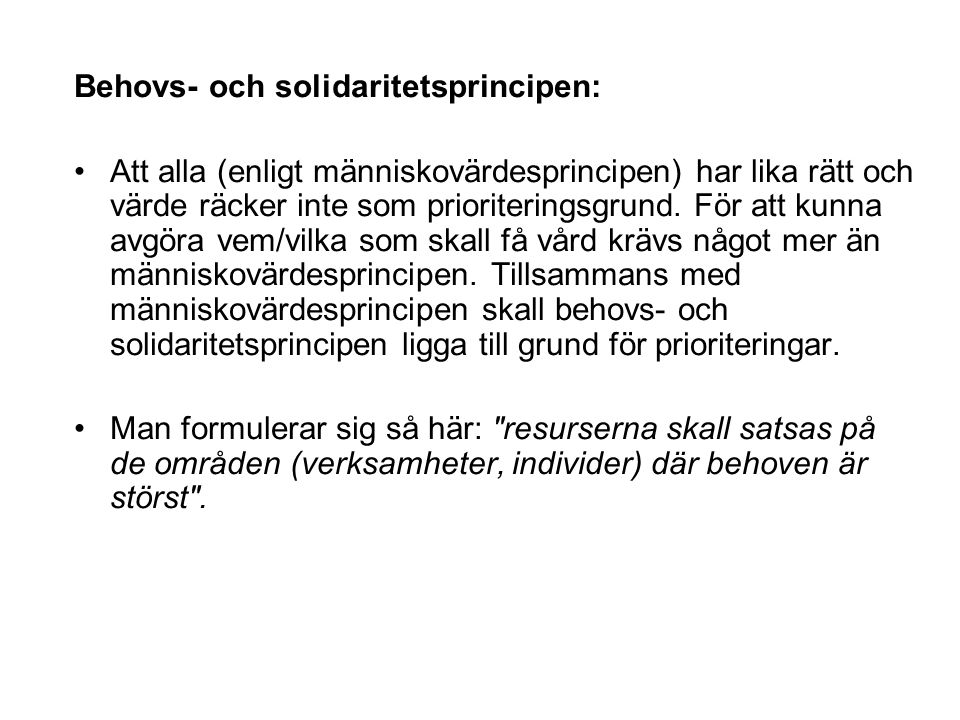 Behovs- och solidaritetsprincipen: