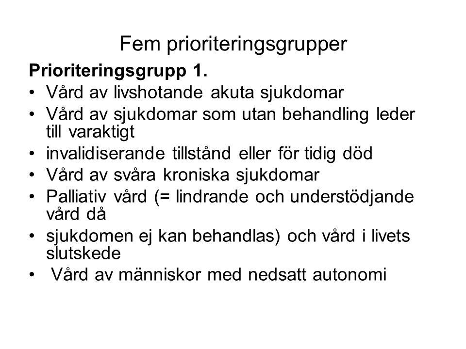 Fem prioriteringsgrupper