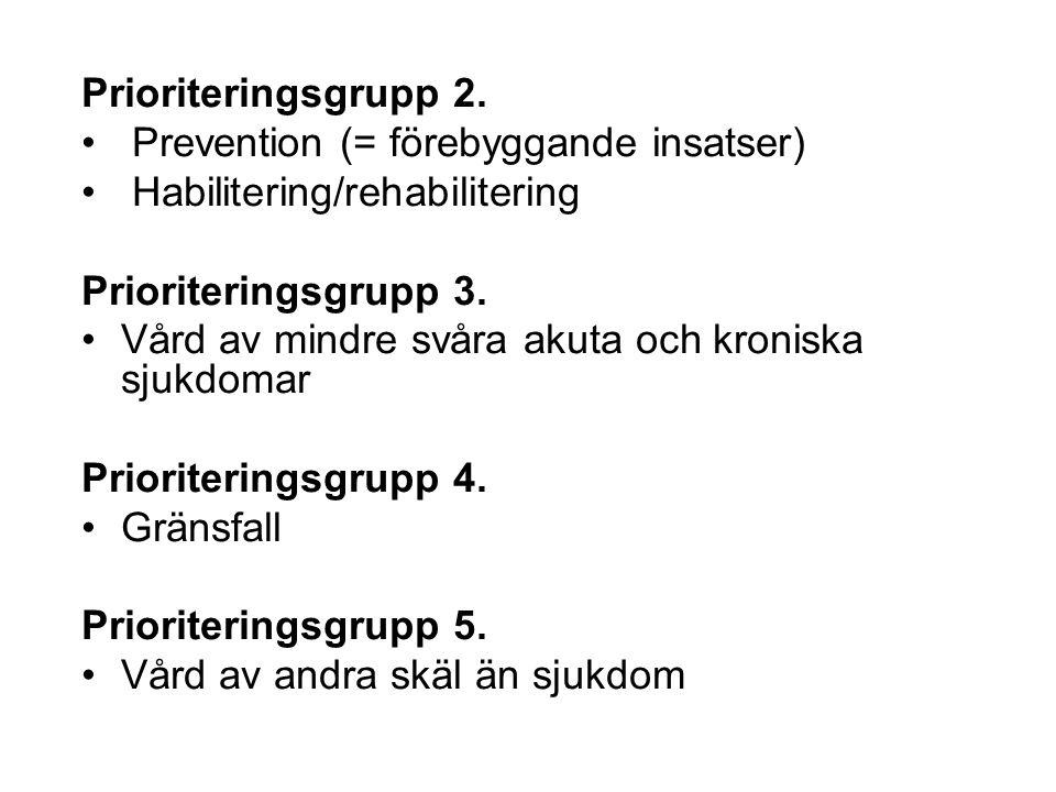 Prioriteringsgrupp 2. Prevention (= förebyggande insatser) Habilitering/rehabilitering. Prioriteringsgrupp 3.