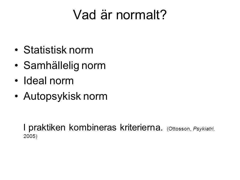 Vad är normalt Statistisk norm Samhällelig norm Ideal norm