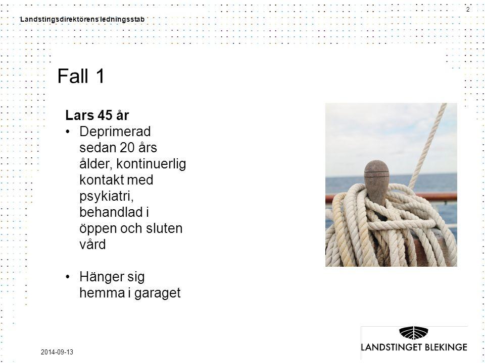 Fall 1 Lars 45 år. Deprimerad sedan 20 års ålder, kontinuerlig kontakt med psykiatri, behandlad i öppen och sluten vård.