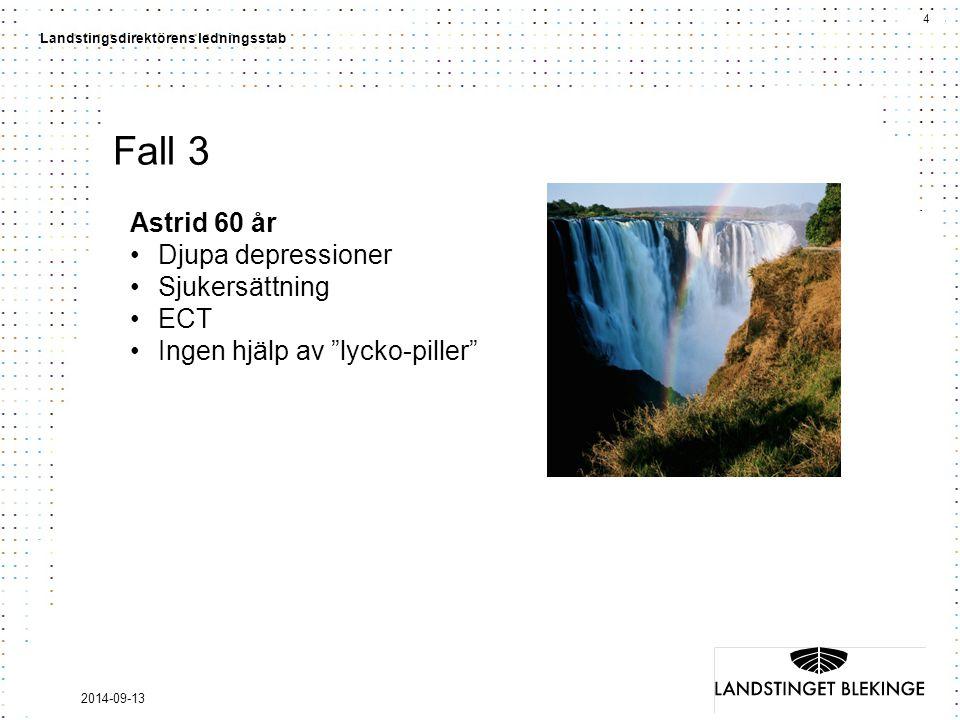 Fall 3 Astrid 60 år Djupa depressioner Sjukersättning ECT