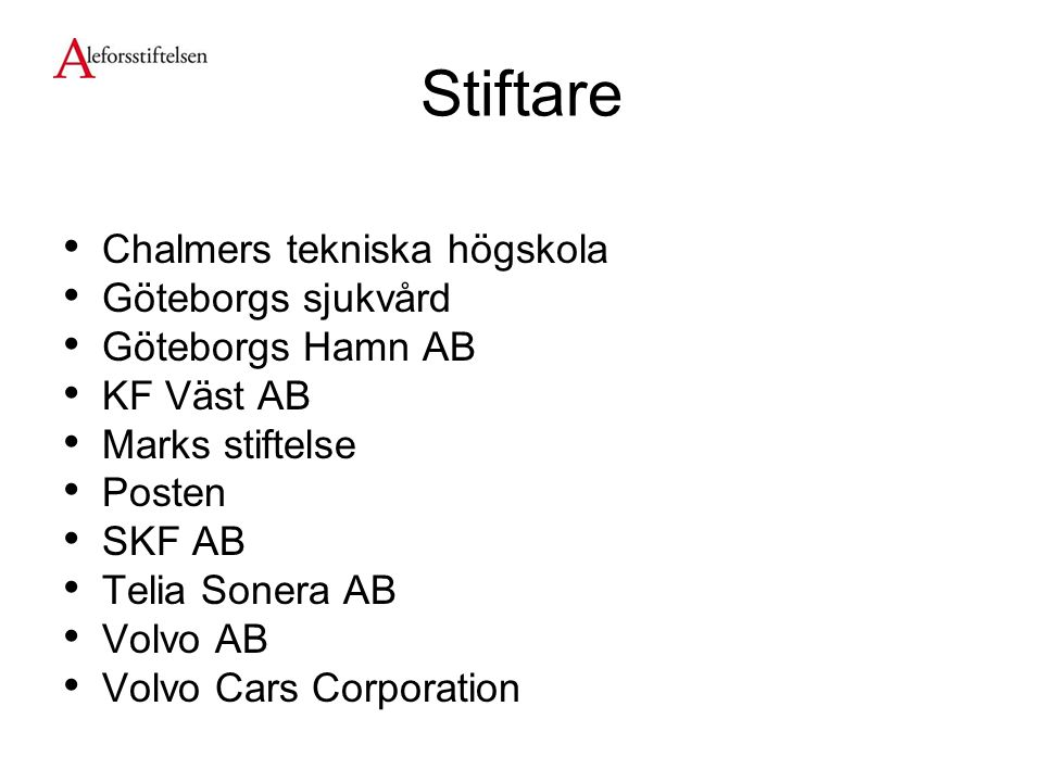 Stiftare Chalmers tekniska högskola Göteborgs sjukvård